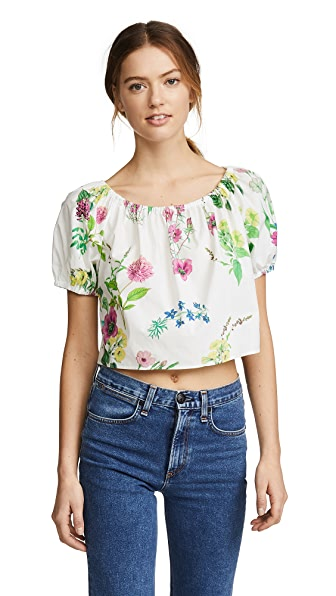 MDS Stripes Cropped Peasant Top In Floral