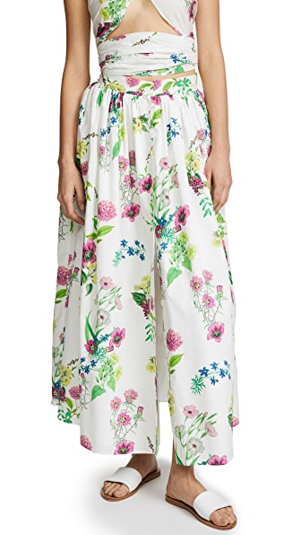 MDS Stripes Button Front Skirt In Floral