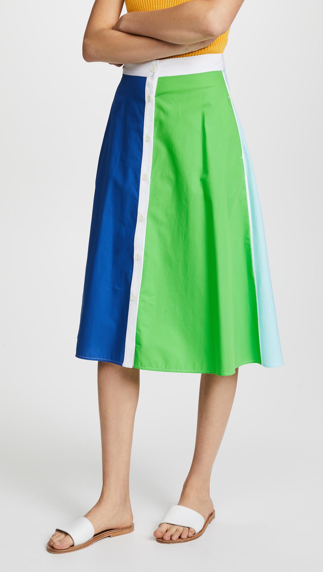 MDS Stripes Vertical Stripe Skirt In Multi