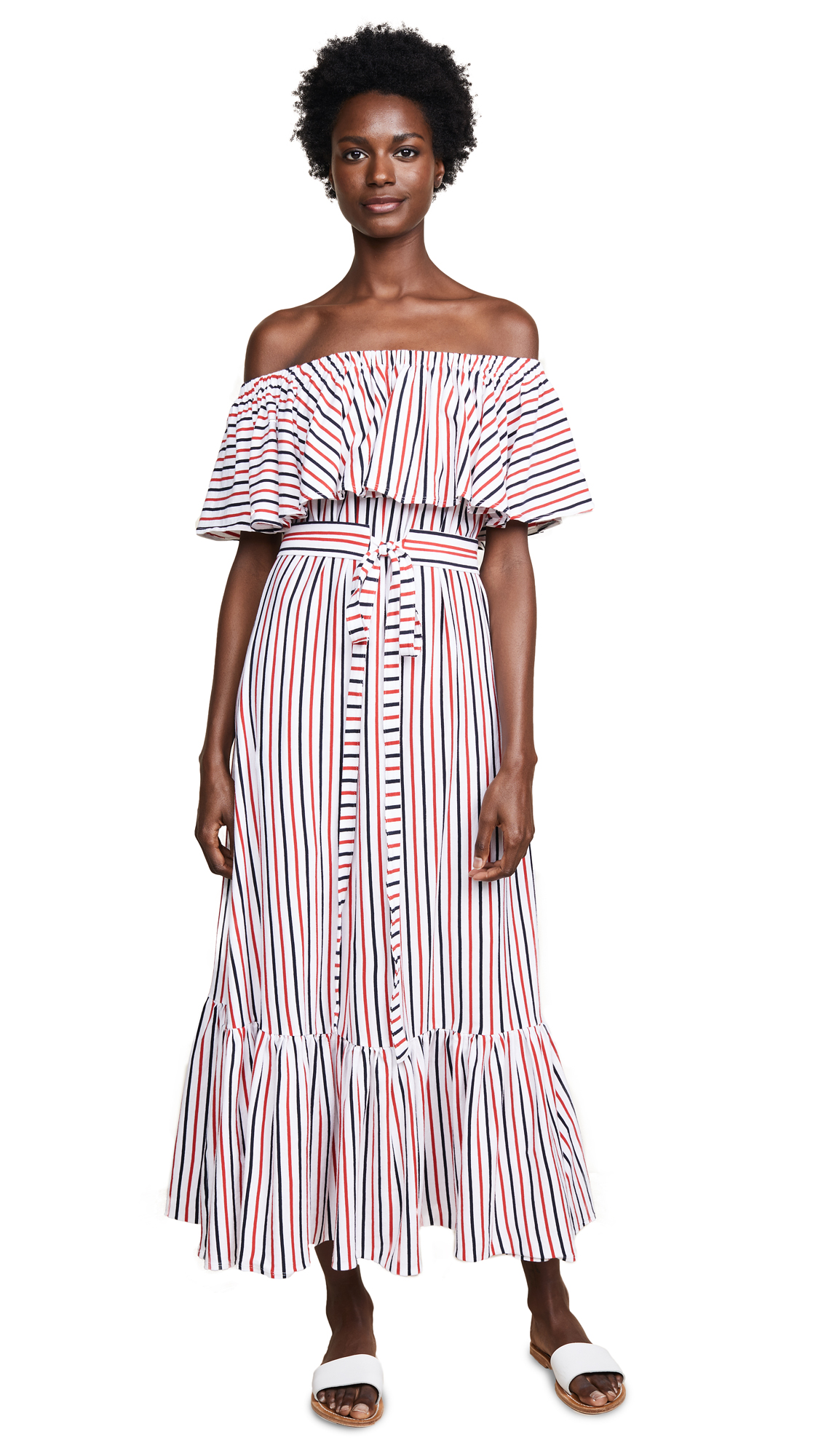 MDS Stripes Rebecca Ruffle Dress - Navy Coral Stripe