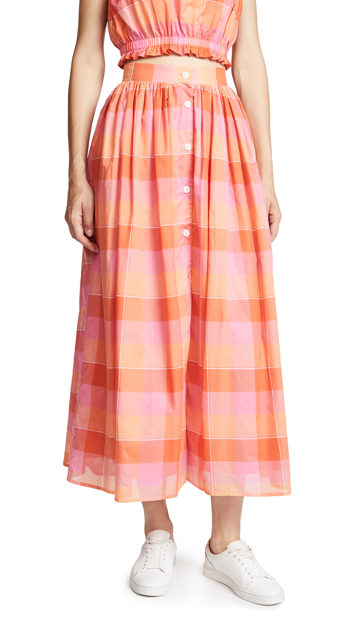 MDS Stripes Button Front Skirt In Orange Plaid