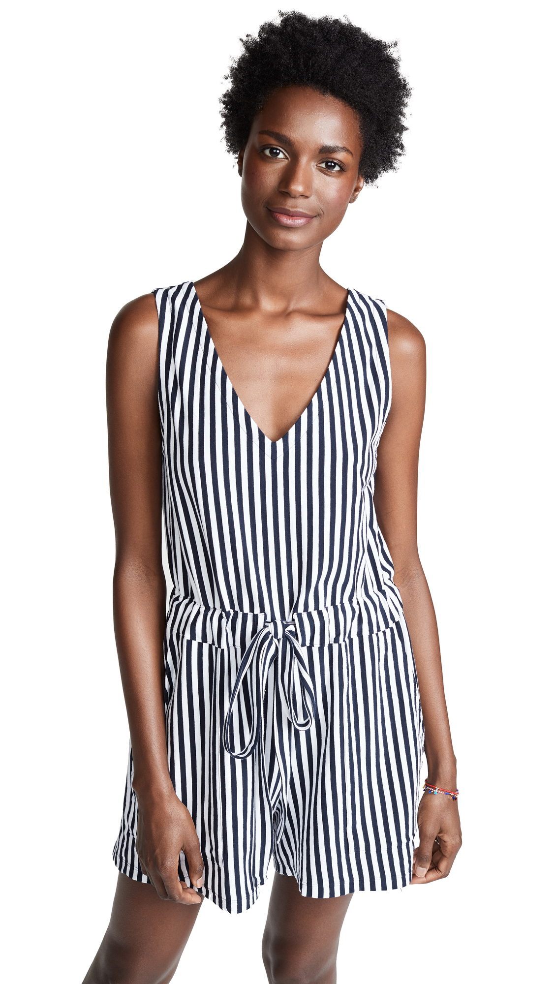 MDS Stripes Amanda Romper In Navy/White Stripe