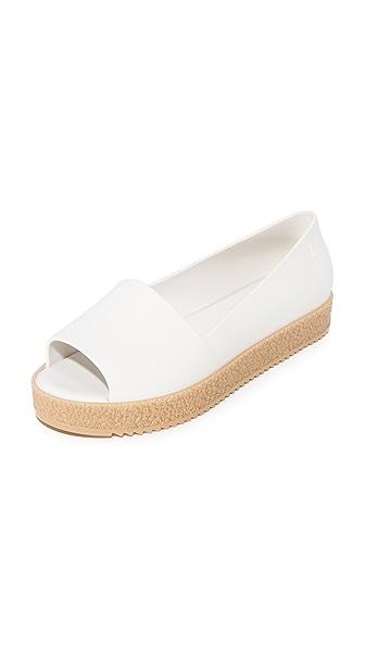 Melissa Puzzle Peep Toe Flats - White
