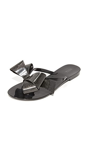 Melissa Harmonic Bow III Thong Sandals - Black Gold Glitter