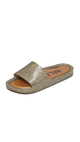 Melissa Beach Slides - Mix Gold Glitter