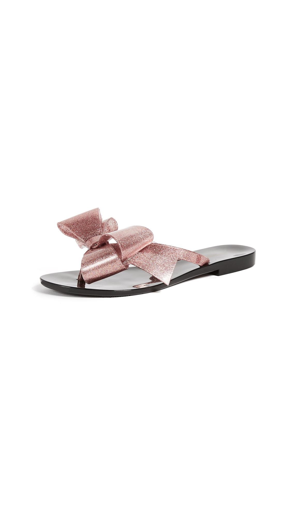 Melissa Harmonic Bow Thong Sandals - Black Rose Glitter