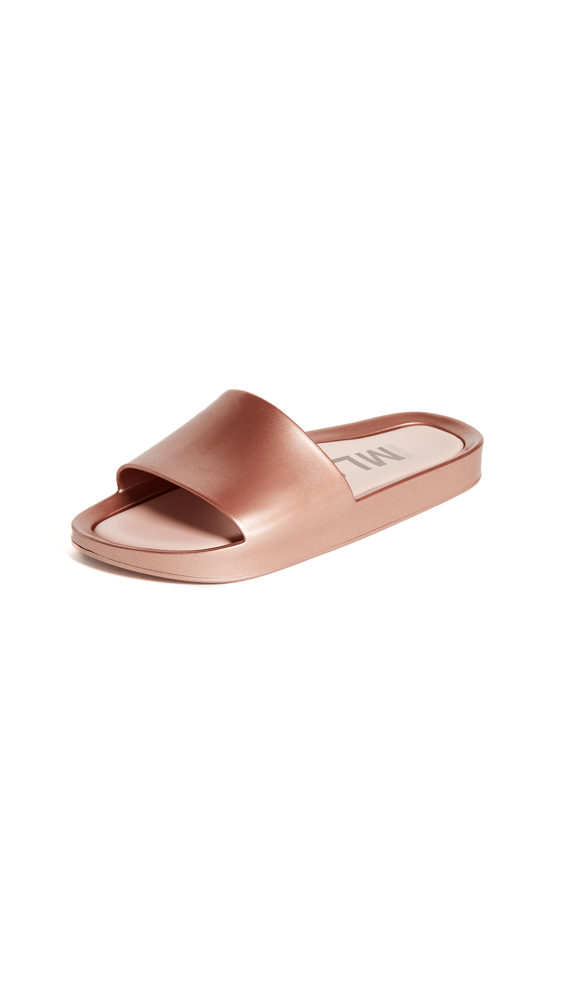 Melissa Beach Slide Shine Sandals - Rose Gold
