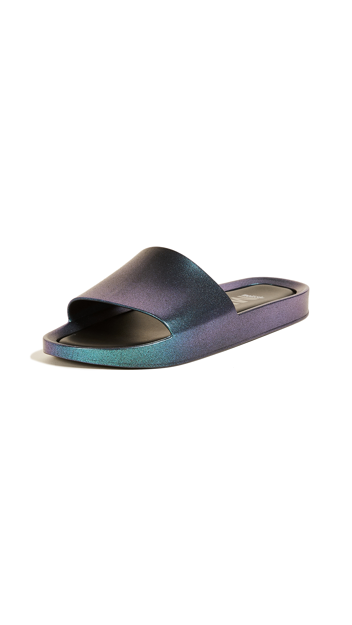 Melissa Beach Slide Shine Sandals - Blue Iridescent