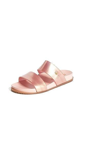 Melissa Cosmic Double Strap Sandals In Metallic Pink