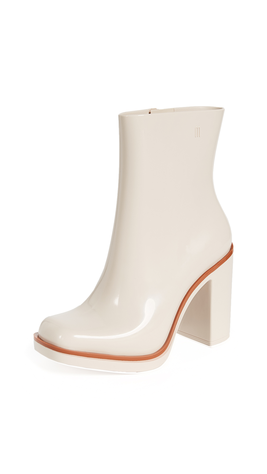 Melissa Classic Chunky Heel Boots - Nude/Brown