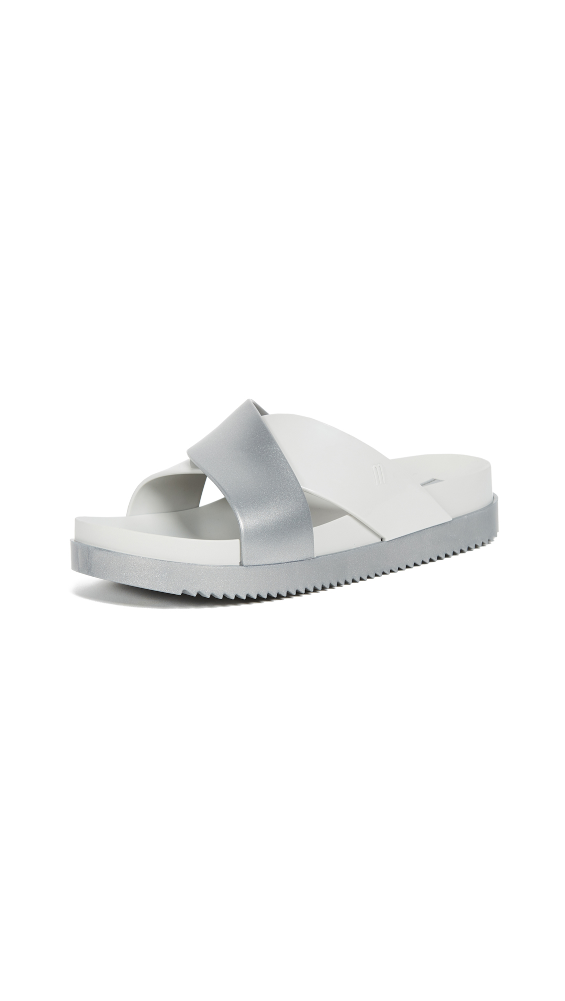 Melissa Cosmic II Crisscross Slides - Light Grey/Silver