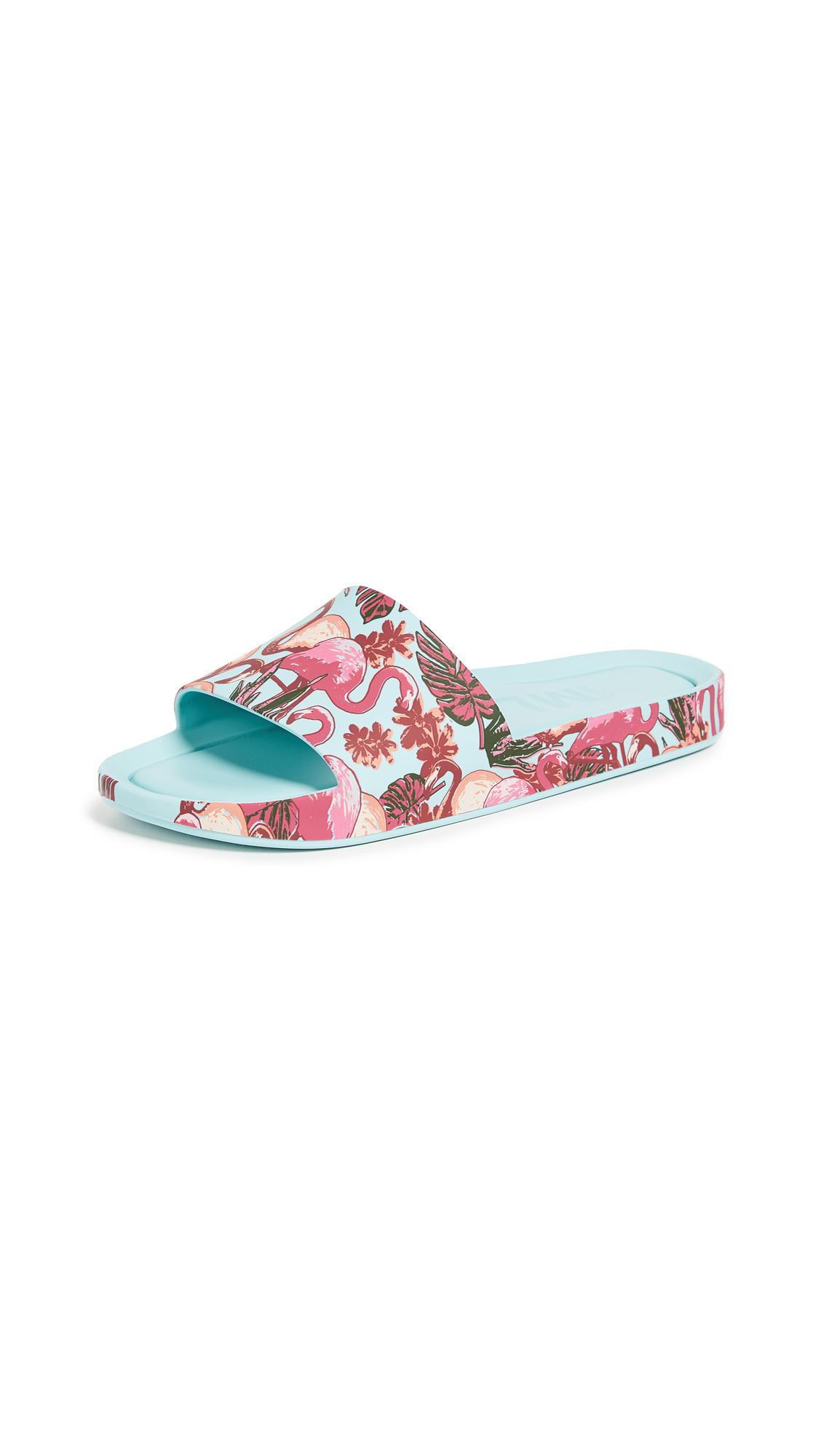 Melissa Beach Rain Slide Sandals - Light Green/Multi