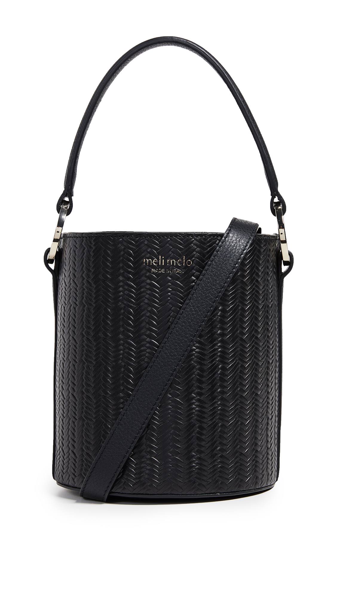 Santina Mini Woven Bucket Bag, Black