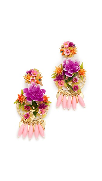 Mercedes Salazar Rosita Mora Clip On Earrings - Gold/Pink Multi