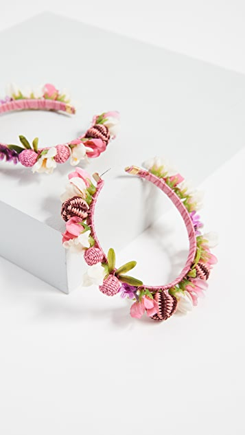 Mercedes Salazar Blushing Roses Hoop Earrings