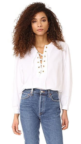 Mes Demoiselles Kasu Lace Up Blouse