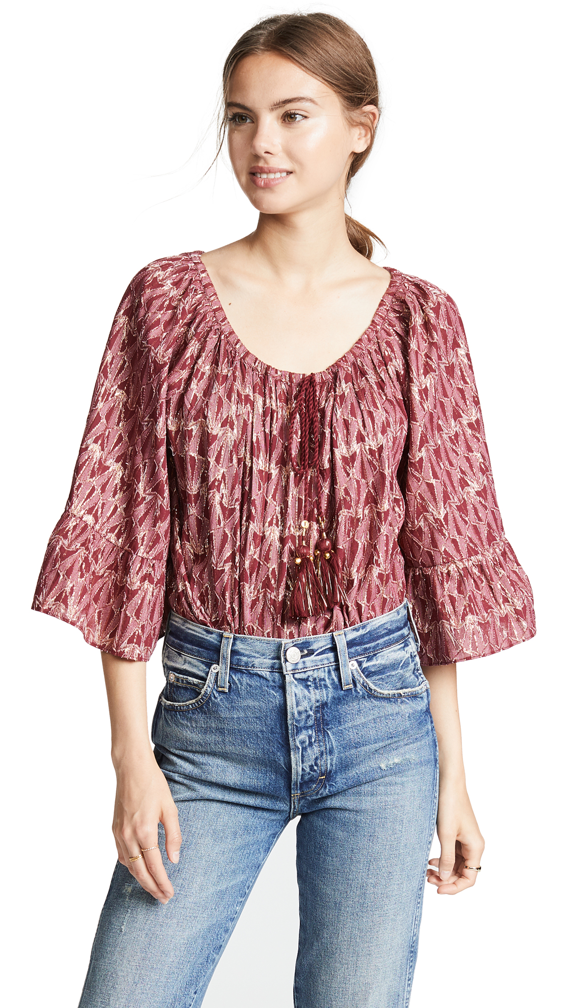 Mes Demoiselles Butterfly Blouse In Red