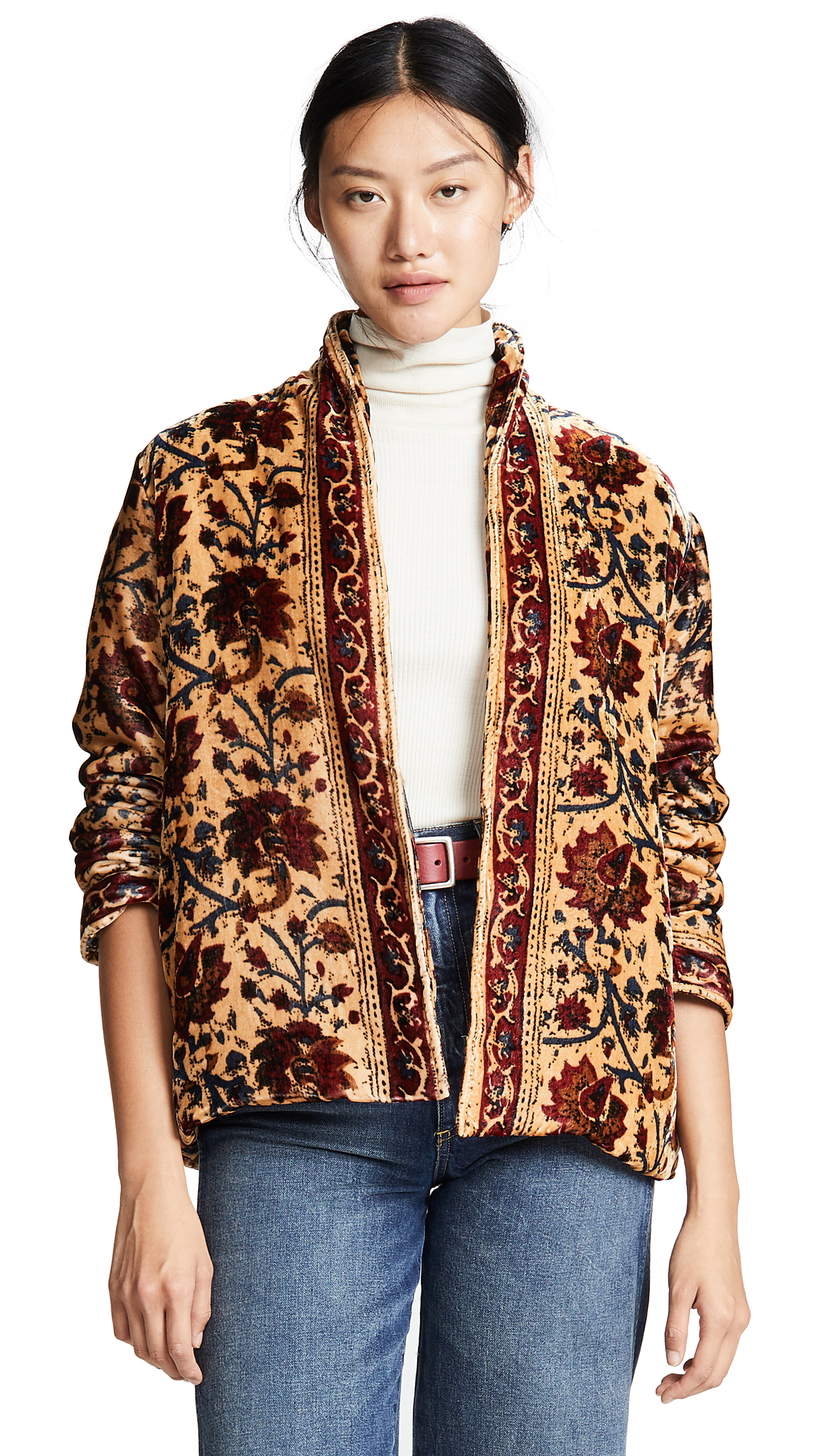 Mes Demoiselles Charles Velvet Jacket In Floral Multico