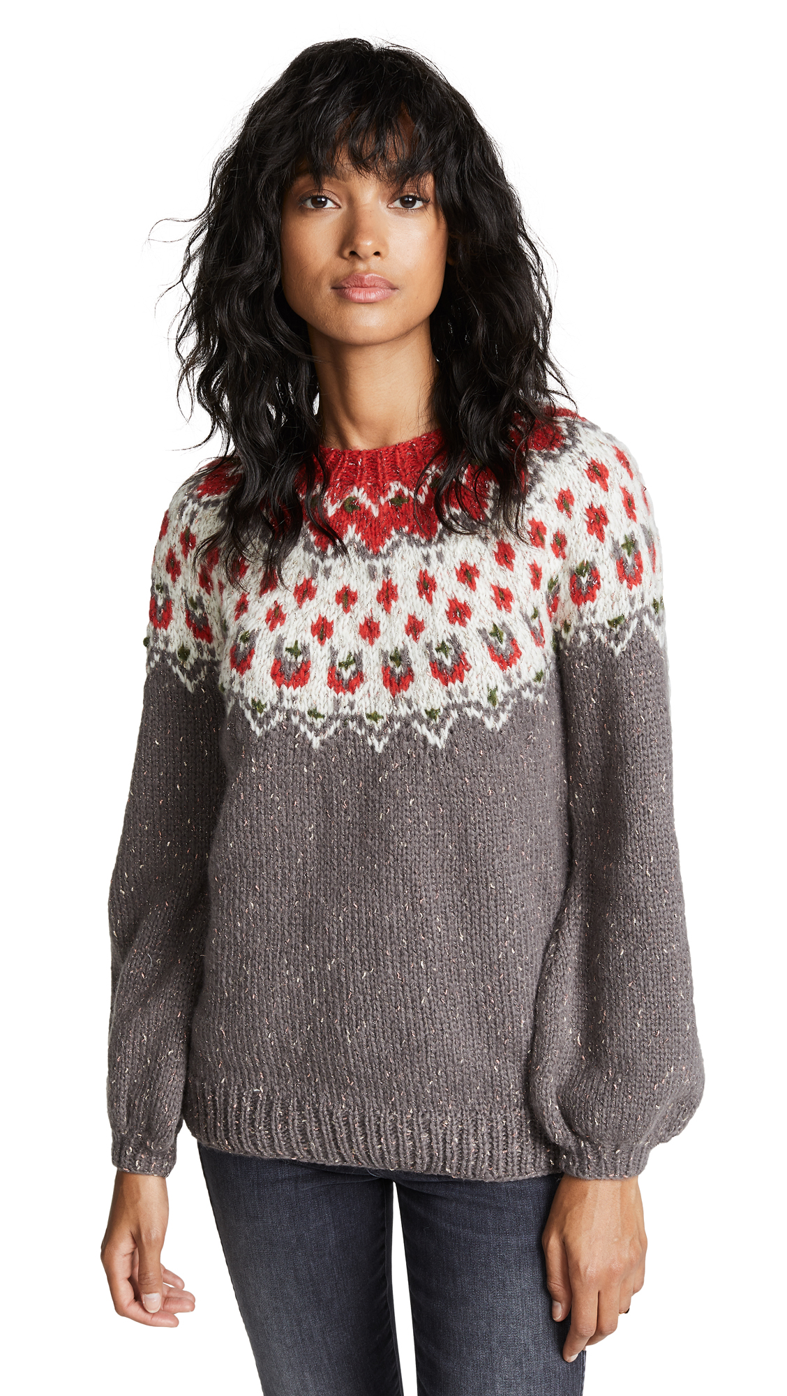 Mes Demoiselles Charlene Knitted Sweater In Combo Grey