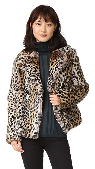 Meteo by Yves Salomon Rabbit Fur Leopard Jacket
