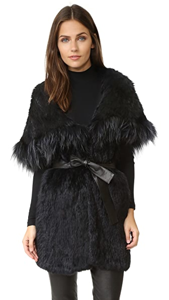 Meteo by Yves Salomon Rabbit Fur Hooded Vest