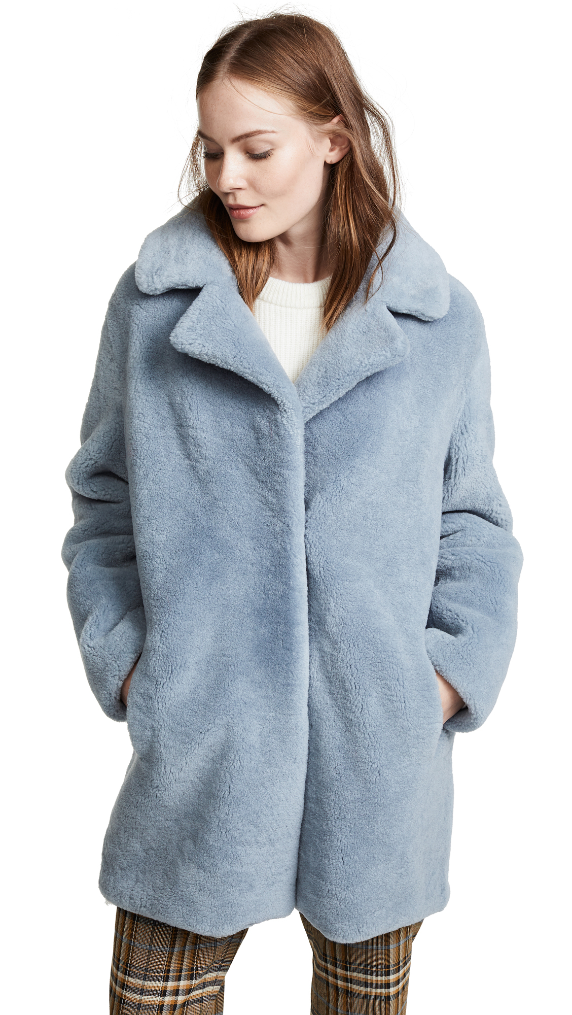 YVES SALOMON - METEO Fleece Coat In Bleu Glacier