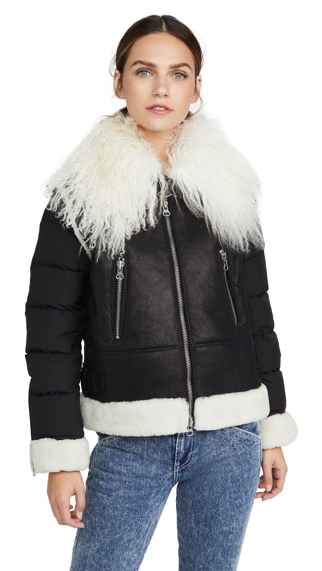 Buy YVES SALOMON - METEO online - photo of YVES SALOMON - METEO Nylon Shearling Bomber
