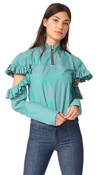 Maggie Marilyn Truth Teller Shirt In Green Stripe