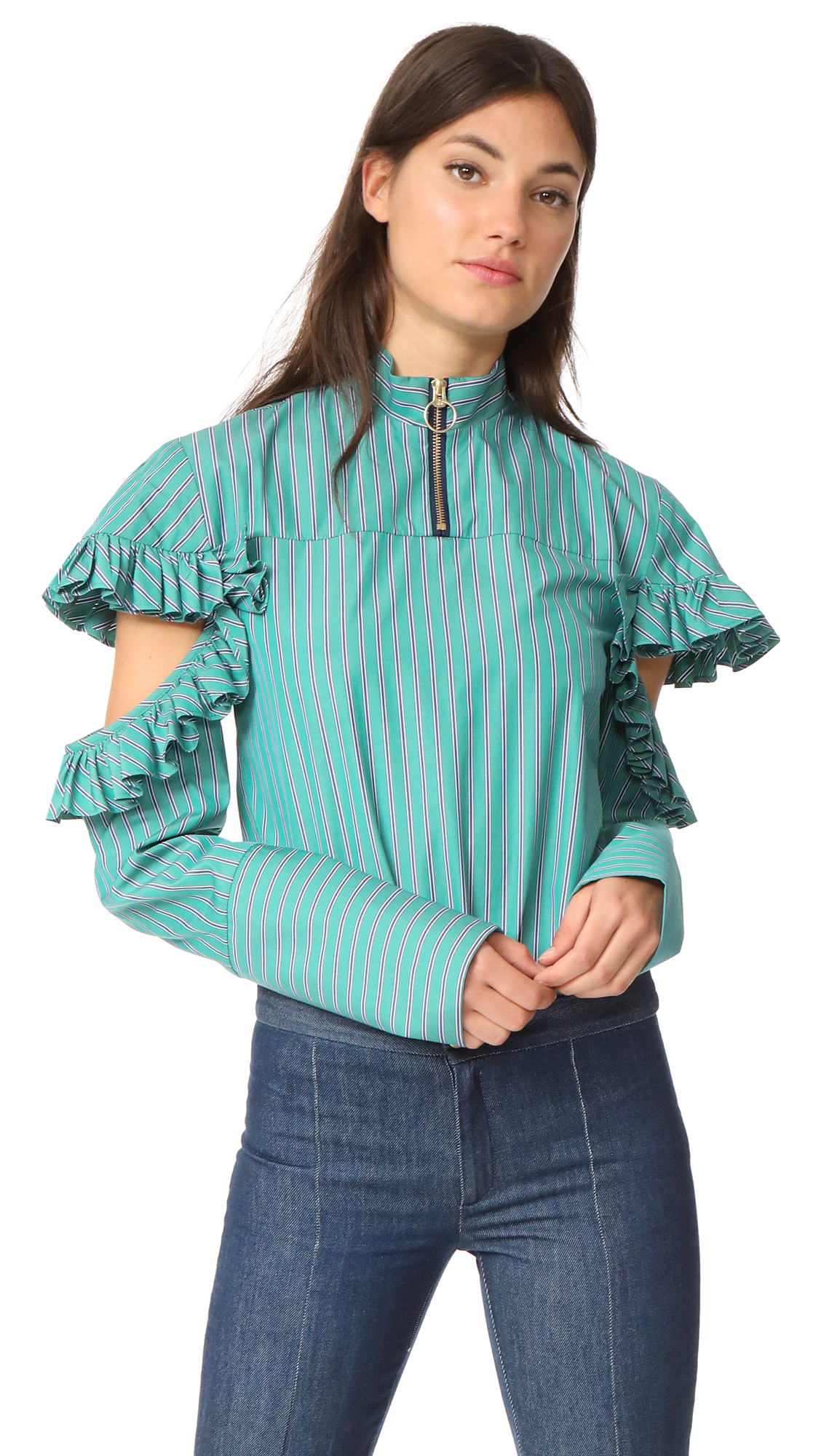 Maggie Marilyn Truth Teller Shirt - Green Stripe