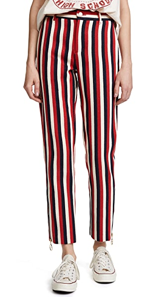Maggie Marilyn Head in the Clouds Slim Pants In Red/Cream/Blue Stripe