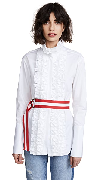 Maggie Marilyn Live a Little Ruffle Shirt with Belt In White