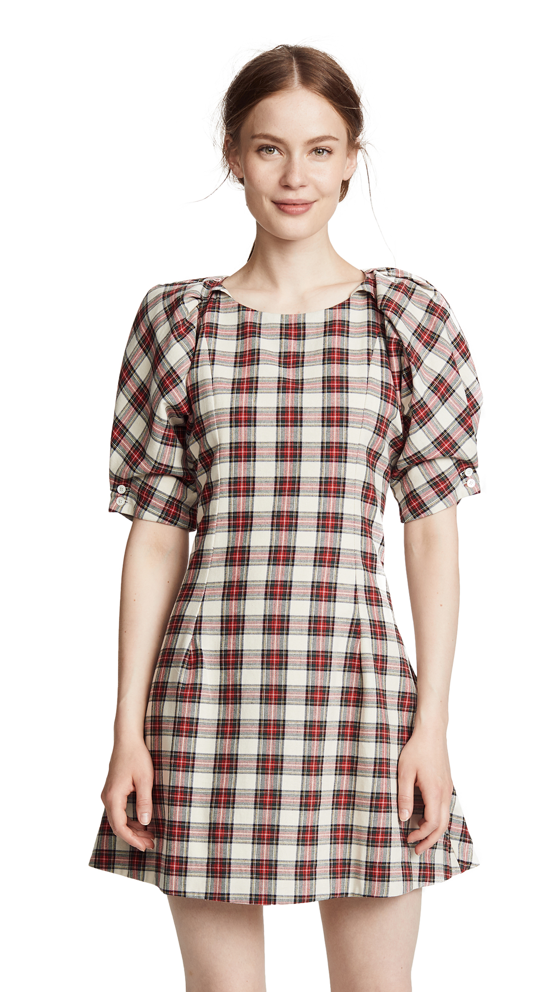 Fashionably Early Plaid Cotton Mini Dress, Cream/Red Tartan Plaid