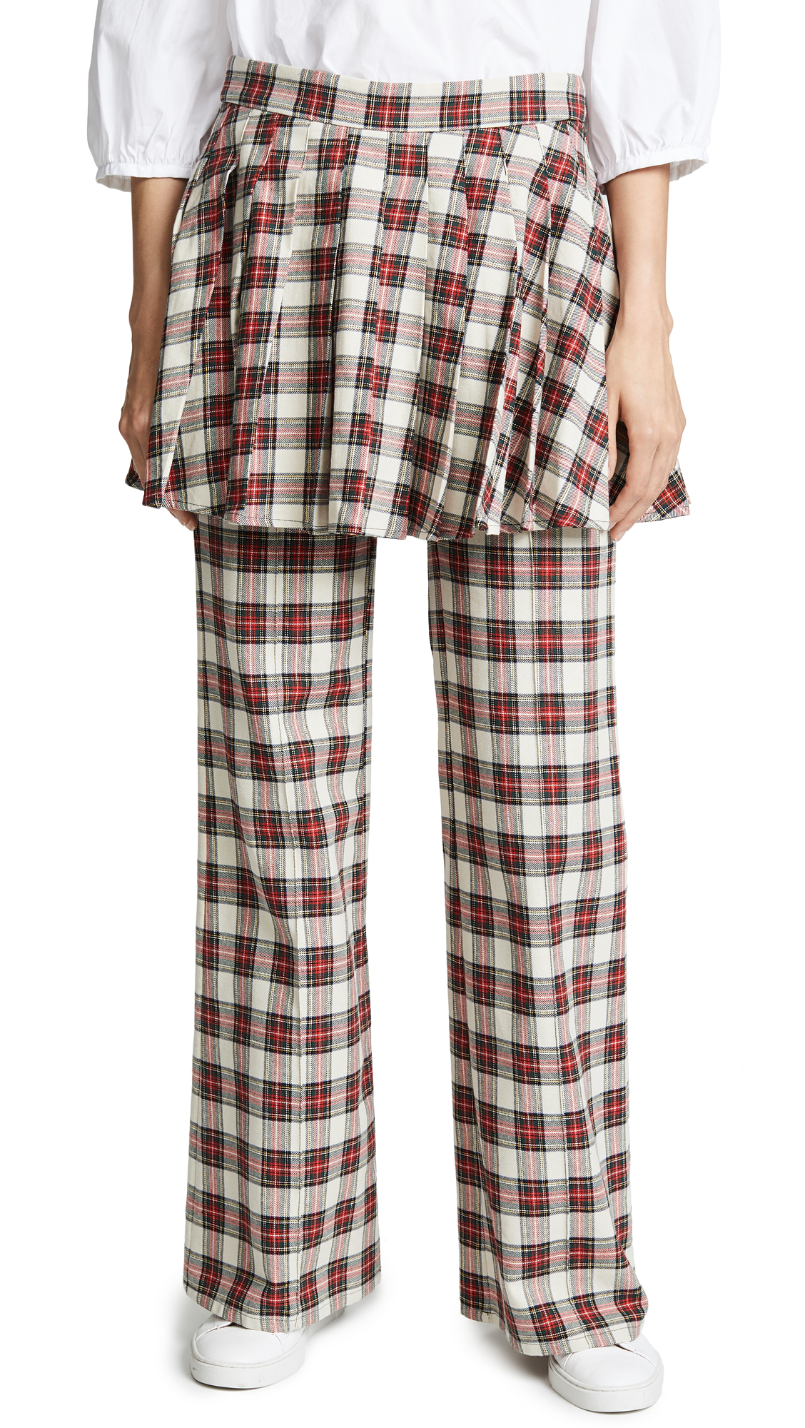 She Is In Charge Skirted Wide-Leg Plaid Pants in Cream/Red Tartan Plaid
