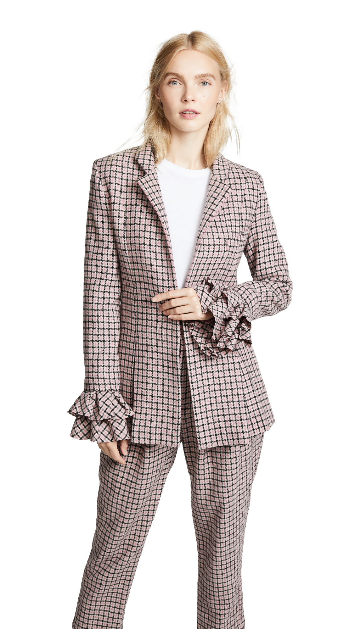 Sheer Joy Blazer, Pink Check