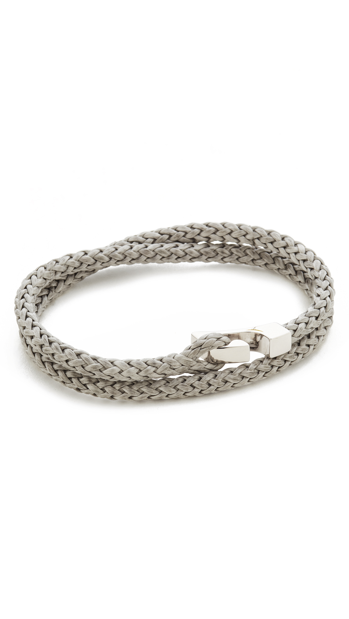 Miansai Sterling Silver Ipsum Wrap Bracelet In Silver/Grey