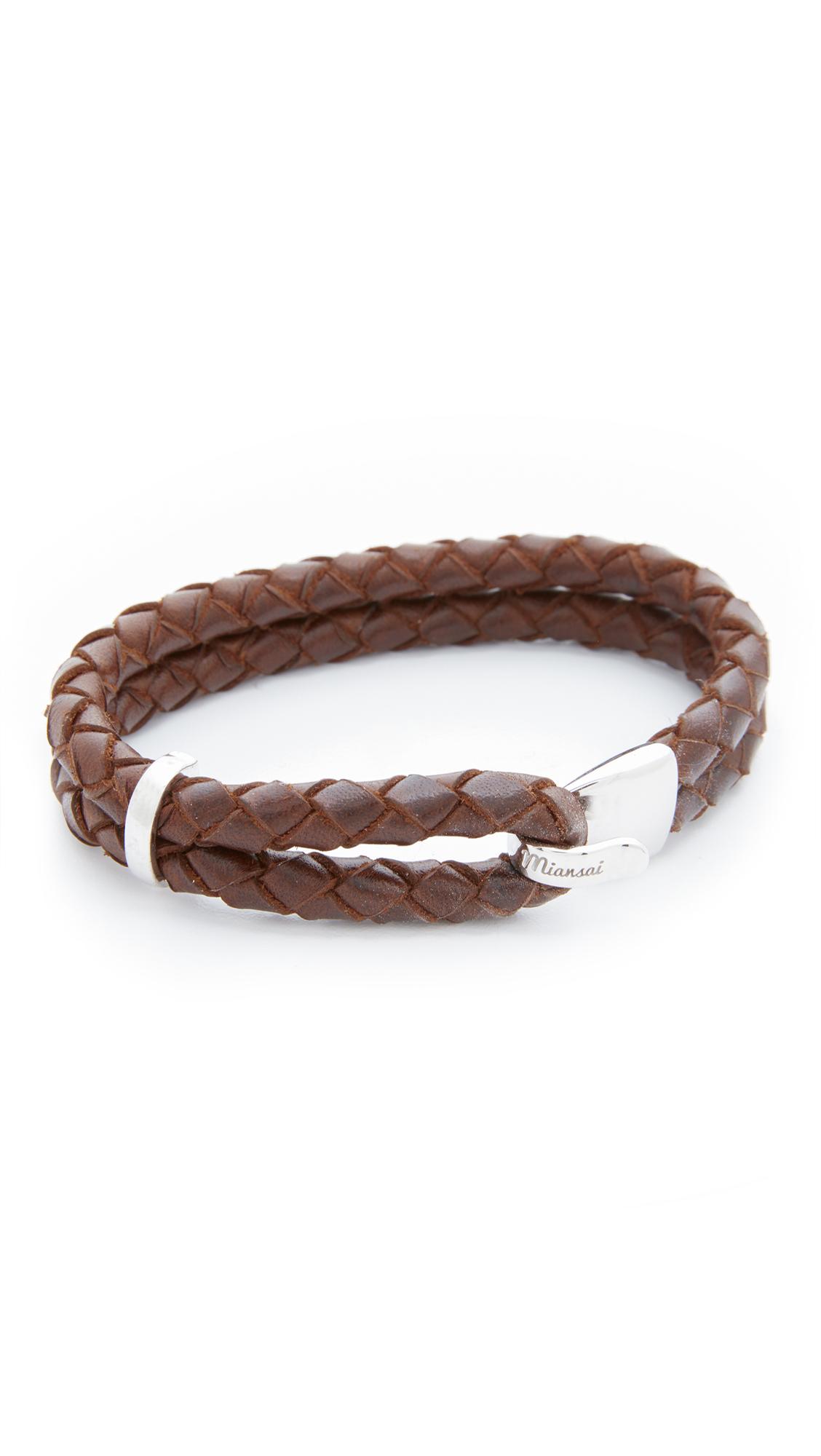 Miansai Beacon Leather Bracelet - Silver/Brown bPvcTX