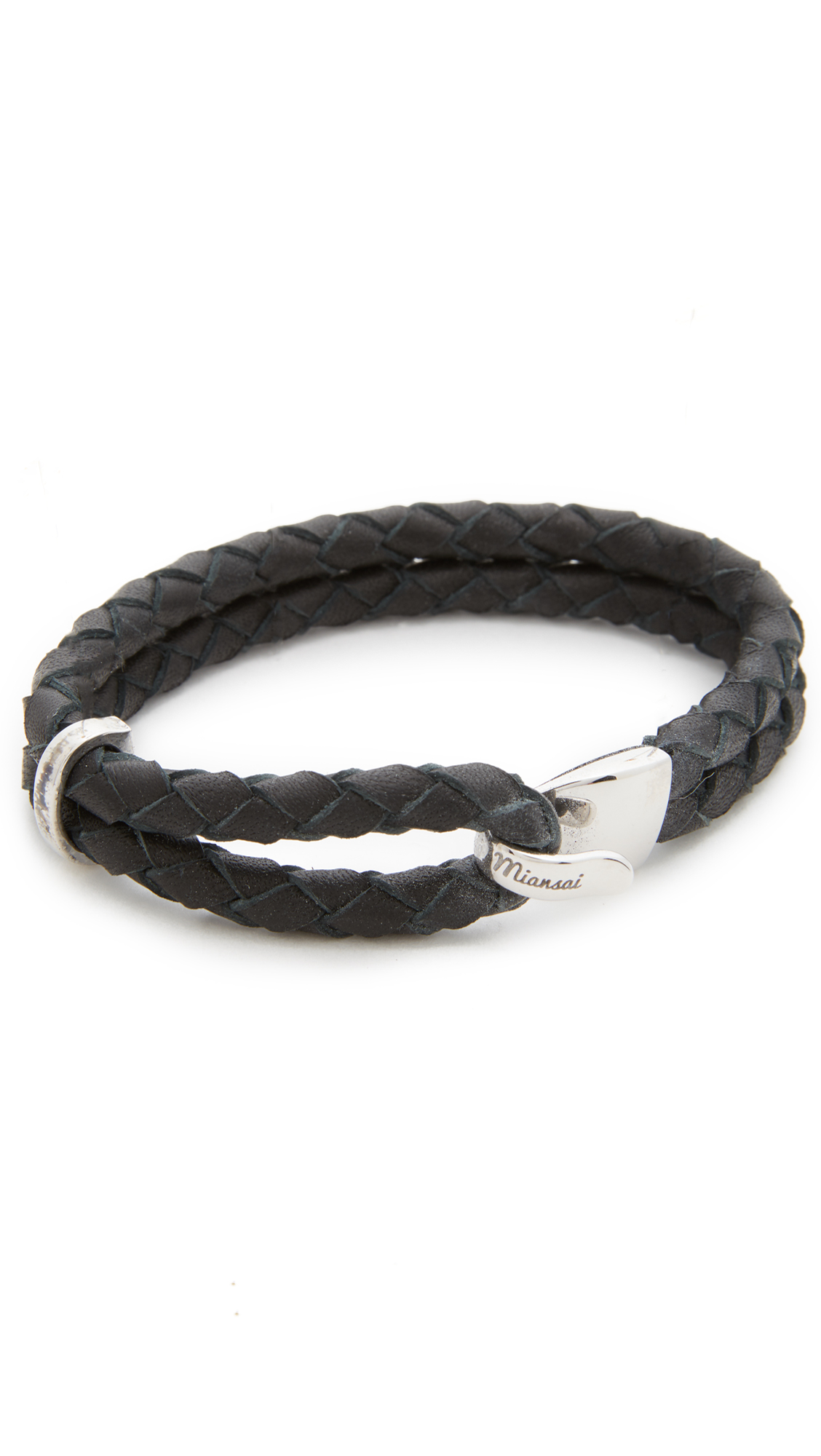 MIANSAI Beacon Sterling Silver Braided Leather Bracelet in Silver/Black