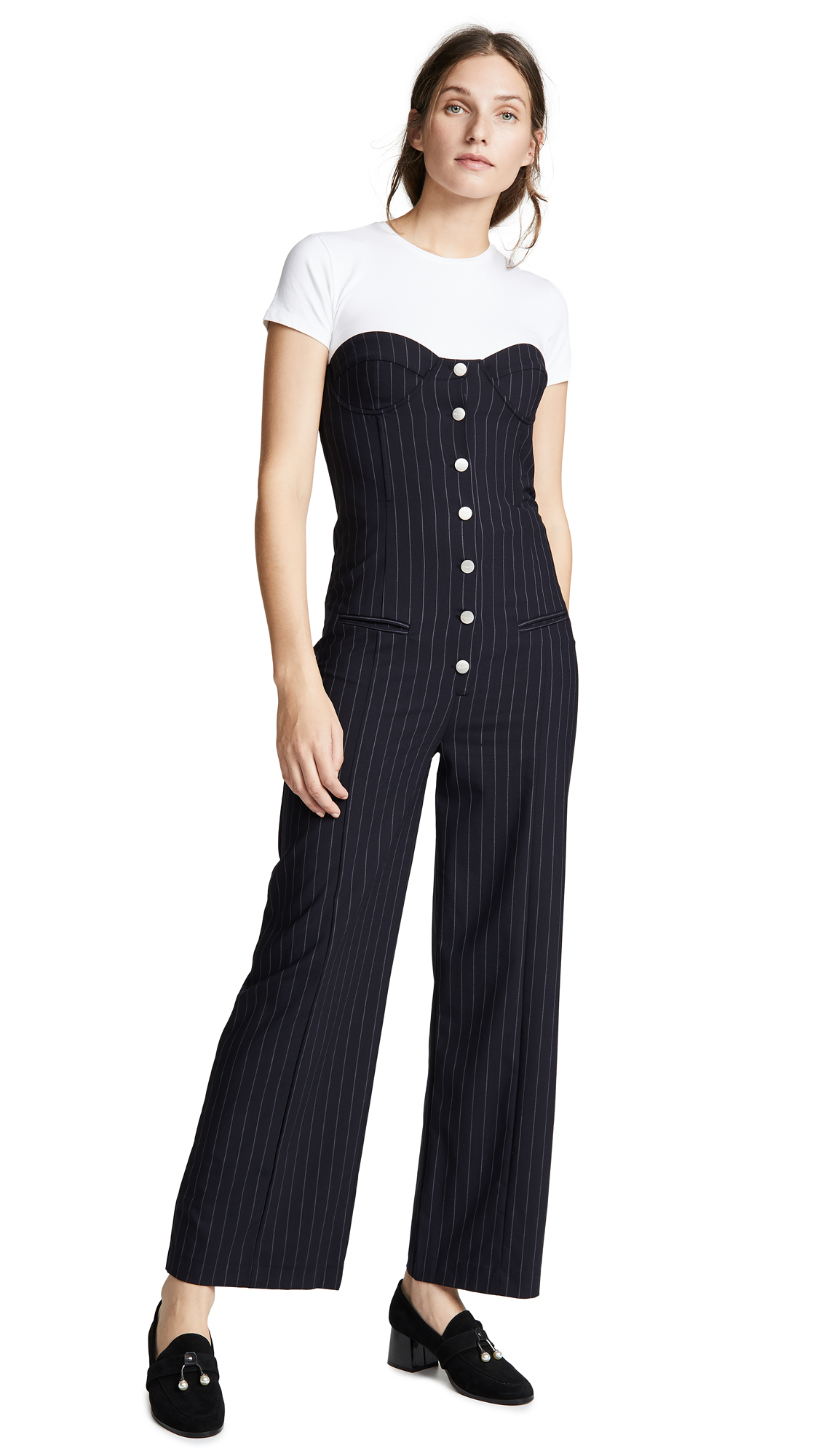Miaou Piper Pinstripe Bustier Jumpsuit