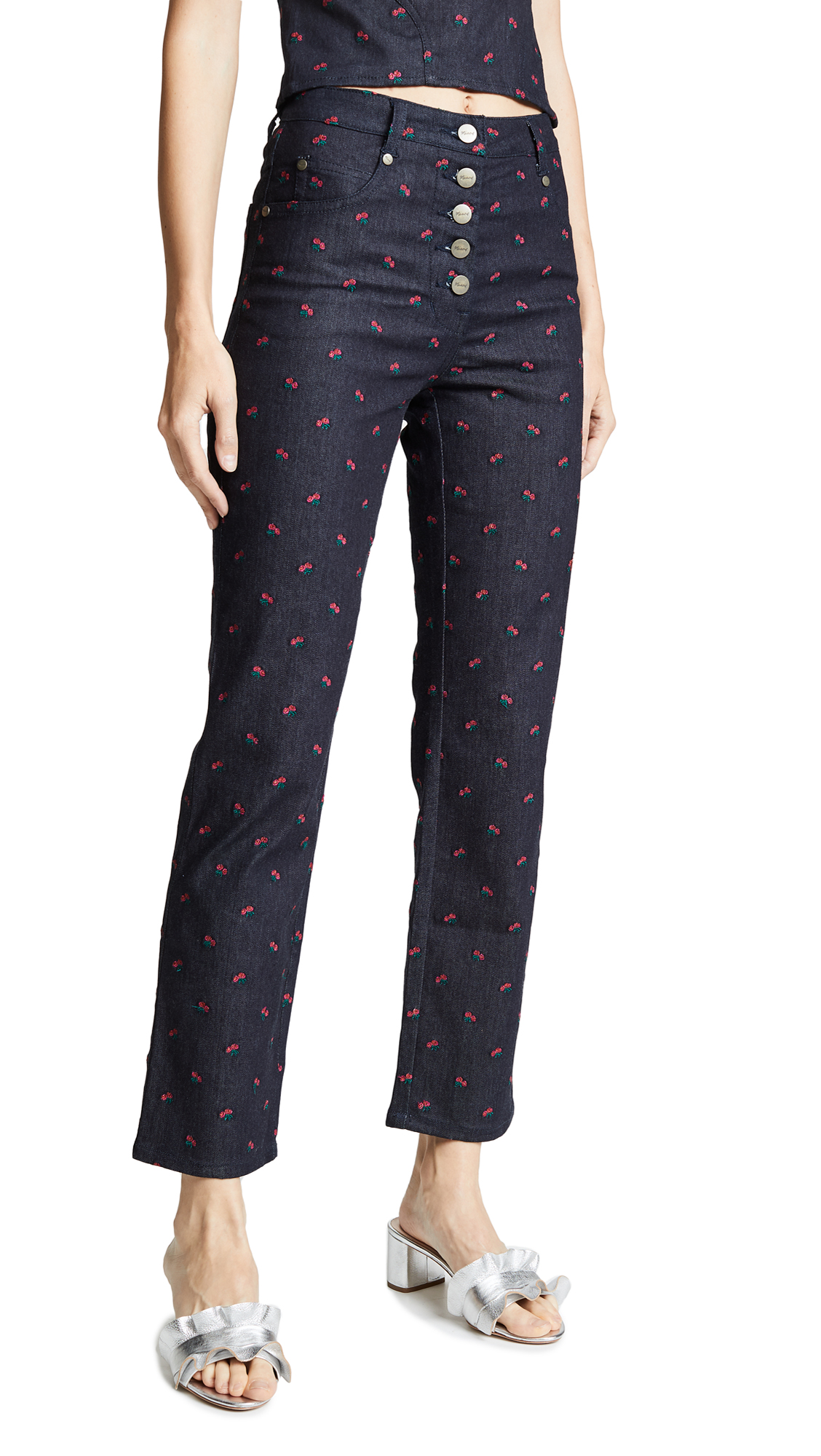 Miaou Junior Embroidered Jeans In Rose Embroidery
