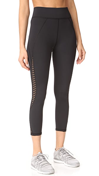 MICHI Medusa Stripe Crop Leggings - Black
