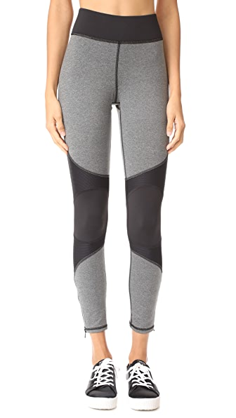 MICHI Moto Zip Leggings - Heather Grey w/ Black