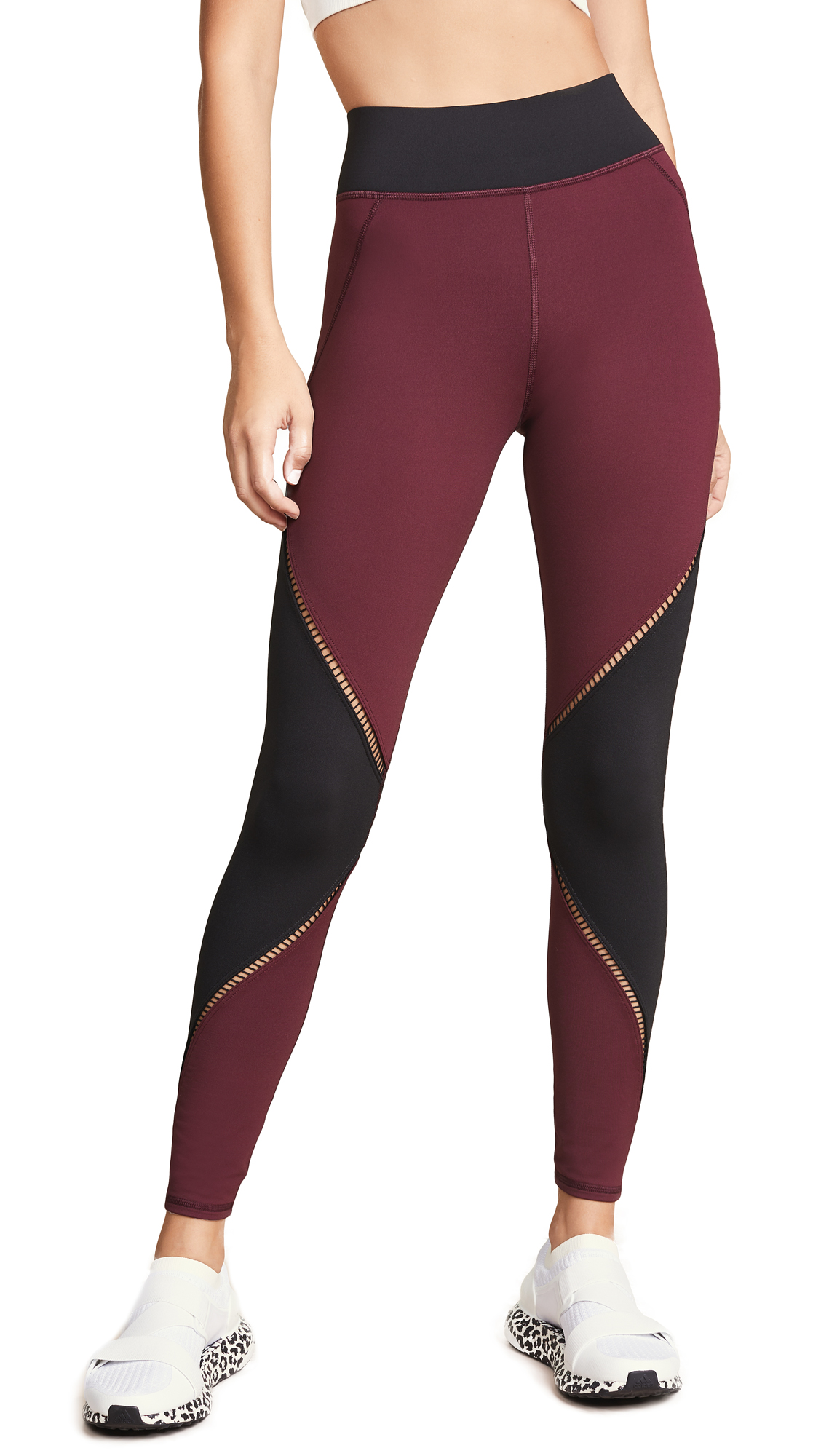 MICHI Axial Leggings in Wine/Black