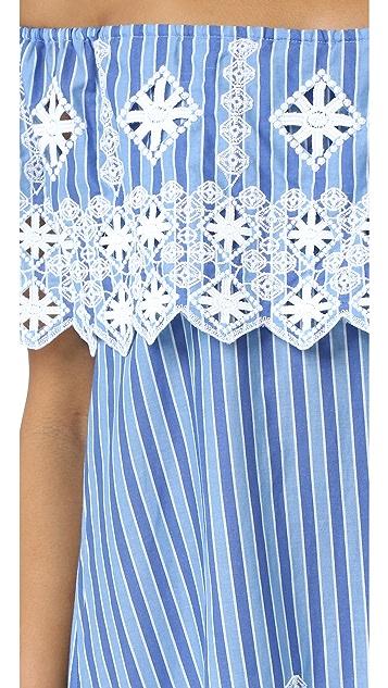 Miguelina Agnes Geometric Cotton Embroidery Dress