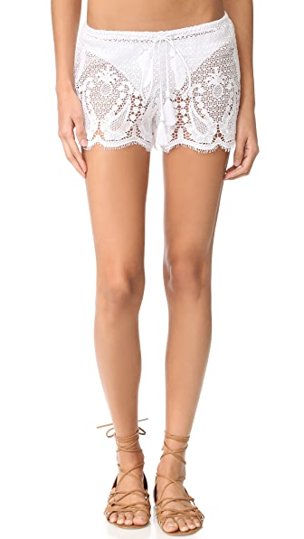Miguelina Minnie Mirage Lace Shorts - Pure White