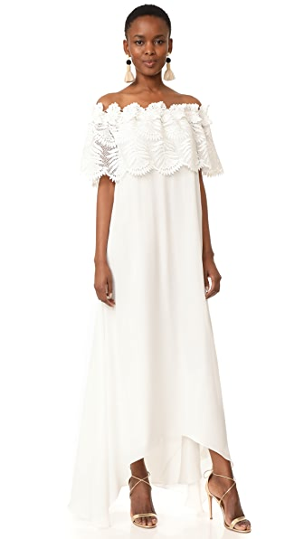 Miguelina Felicia Palm Leaf Lace Maxi Dress In White