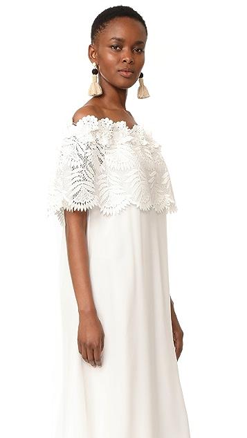 Miguelina Felicia Palm Leaf Lace Maxi Dress