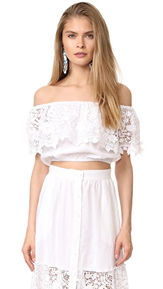 Miguelina Dakota Off Shoulder Top In Pure White