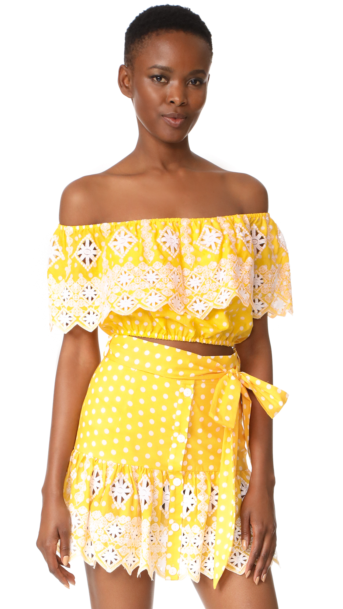 Miguelina Dakota Off the Shoulder Top - Rubber Ducky Polka Dot