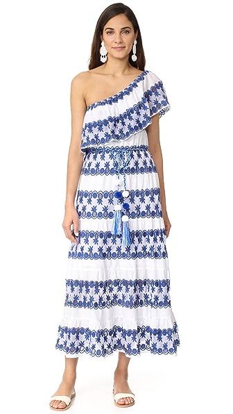 Miguelina Madeline One Shoulder Maxi Dress - Mediterranean Blue