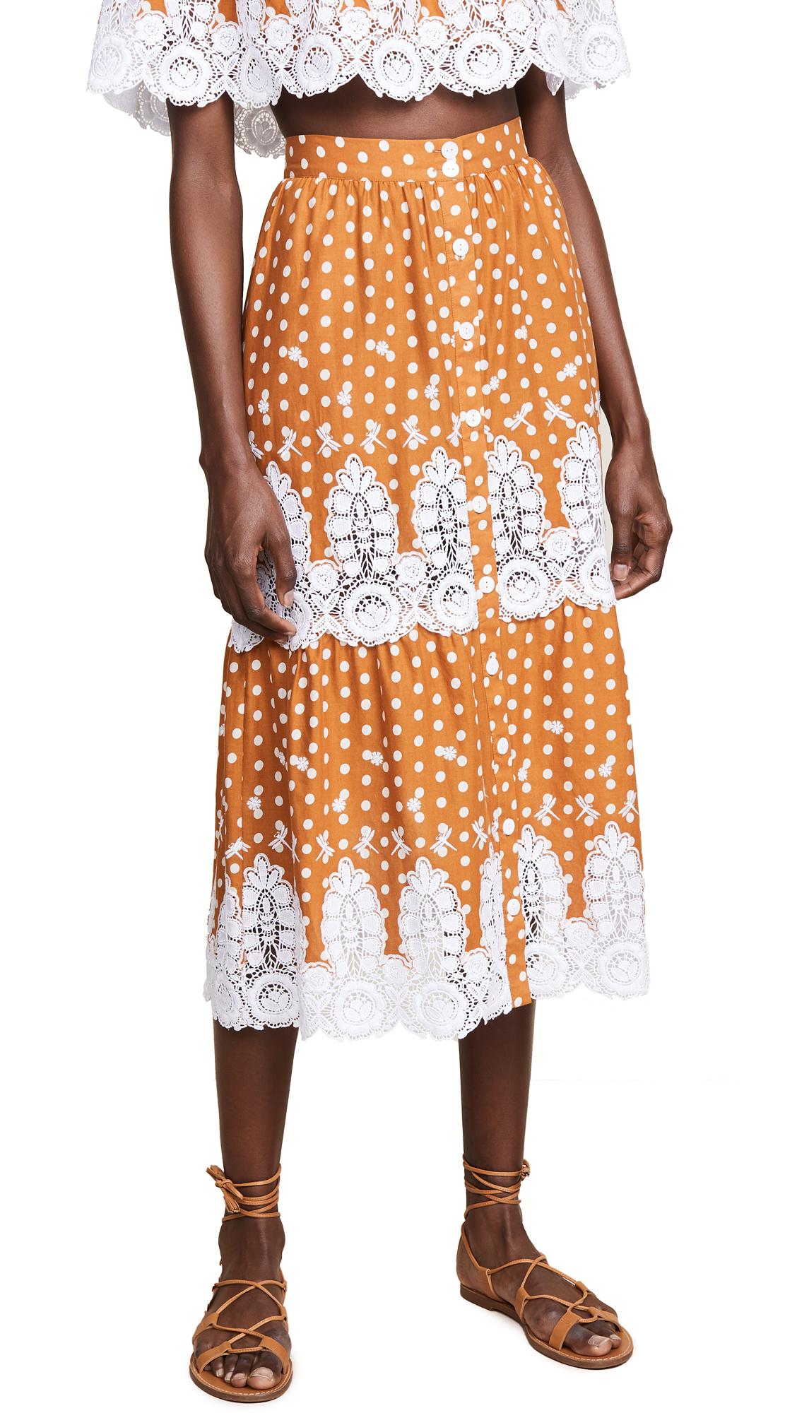 MIGUELINA Carolina Midi Skirt in Saffron